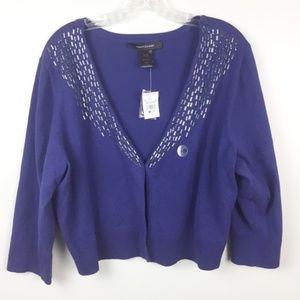Ashley Stewart Sweater 18/20 Silver Beads V-Neck